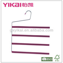 Set of 3pcs EVA foam coated metal trousers hanger with 4 tiers of trousers bar