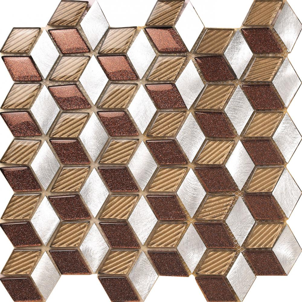 Brown Shiny Glass Aluminium Mix Mosaic Tile