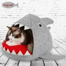 Tubarão Design Cat Bed Cave Tubarão Pet Casa com Almofada Removível Mat