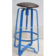 Industrial Retro Bar Stool Leather seat Blue Disstress Color