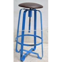 Industrial Retro Bar Stool Assento de couro Blue Disstress Color