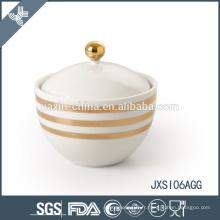 Glod line décalque Porcelaine Sugar Pot, Candy Jar avec couvercle