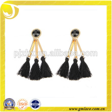 2016 Fashionable New Design Black Rayon Earring Tassel