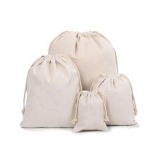 Wholesale custom promotion lightweight eco friendly reusable canvas cotton drawstring bag