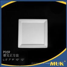 Eurohome al por mayor de 9 pulgadas de cristal real lisa placa cuadrada de cerámica