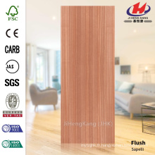 JHK-F01 Bonne qualité Flat Red Sapelli Natural Deep Mold HDF Simple Door Skin Factory