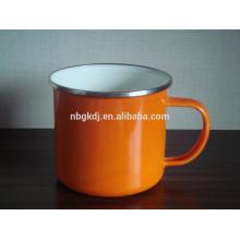 orange enamel milk pot