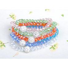 Bracelet en cristal de couleur pêche, perles de cristal