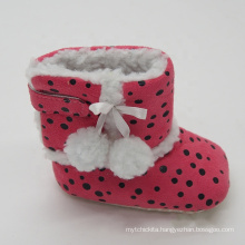 Pom pom printing baby girls indoor shoes kids winter boots