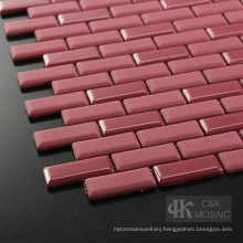 Red Diy Subway Tile Shower with Glass Mosaic