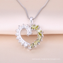2018 Classical Semi-precious Stone Love Heart Pendant Necklace