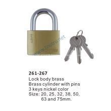 261-267 brass padlock hardend steel shackle