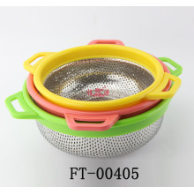 Stainless Steel Color Plastic Handle Colander (FT-00405)
