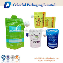 bolsa de bebida reutilizável ziplock de comida de bebê reutilizável com bico