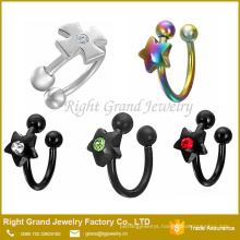 Stone Clear and Red Star Shaped Nose Piercing Ring Circular Barbell