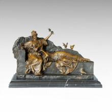 Classical Figure Statue Flower Sisters Bronze Sculpture TPE-1007