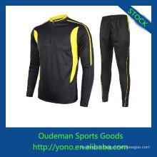 Top qualité spandex et polyester matériaux manches longues maillots de football pas cher