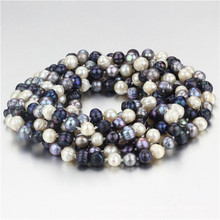 Snh 100inches Longo Mixed Color Bead Pearl Necklace Jewelry