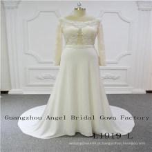 Mangas compridas top de renda com frisada saia vestido de noiva chiffon