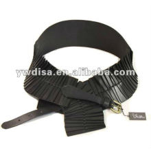 Fashion Women's Black Elastic And Real Leather Belts