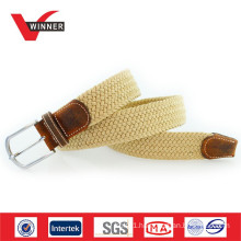 High quality elastic cotton and leather belt