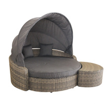 Outdoor Aluminum PE Round Rattan Folded Daybed
