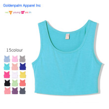Plain Color Elastic Stretch Womens Crop Top