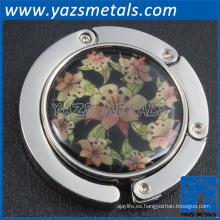 diseño personalizado ronda de promoción de metal gancho plegable monedero