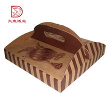 Factory direct square cheap paper corrugated carton pizza box with handle