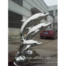 Escultura animal de Dophin del acero inoxidable de los artes abstractos modernos grandes para la decoración del jardín