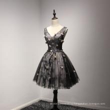 V Шеи Цветок Черный Бисероплетение Пром Платье Для Коктейля