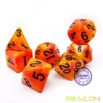 Bescon Magical Stone Dice Set Series, 7pcs Polyhedral RPG Dice Set Aura Stone, Tinbox Set