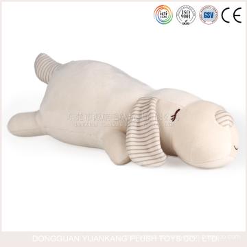 Brinquedos brancos do luxuoso do cão enchido do travesseiro macio feito sob encomenda da forma do cão