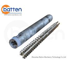 Baril à double vis parallèle pour machines d'extrusion de plastique