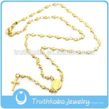 Chapado en vacío rosario cadenas de estrellas collar religioso con corte láser grabado patrón tribal Virgen María cruz colgante de joyería