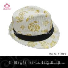 Высокая печать fedora шляпы мужчины бумага солома fedora шляпа скидка шляпы