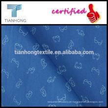 peso leve, design de óculos de fundo azul impresso em popeline tecer tecidos de algodão para camisa