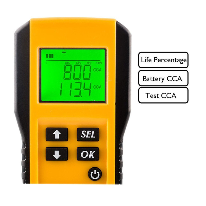 digital battery tester screen