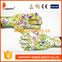 Flower Design with PVC Dots Gardening Gloves
