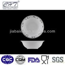 A007 White fine bone china decorative porcelain shallow soup bowl