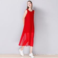 Sommer ärmelloses Rundhalsausschnitt Mode Damen Kleid
