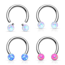 Opal Ball Internally Threaded Horseshoe Nipple Ring