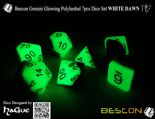 Bescon Gemini Glowing Polyhedral 7pcs Dice Set GREEN DAWN-2