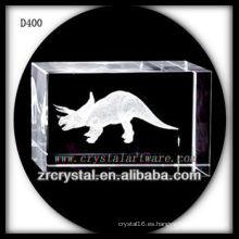 Rectángulo de cristal láser 3D K9 con dinosaurio en el interior