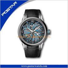 O relógio automático da faixa de relógio de couro