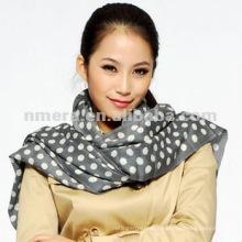 Lady's printed polka dot 100% wool scarf shawl SWW297-G