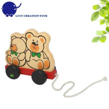 Toddler Classic Toy Wooden Pulling-along Bear