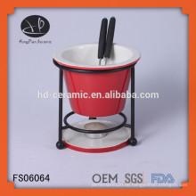 Heißes verkaufendes Porzellan-Schokoladen-Fondue-Set mit Gabeln und Eisenständer, rundes Mini-Porzellan-Fondue-Set mit Regal
