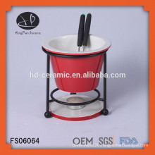 hot selling porcelain chocolate fondue set with forks and iron stand,round mini porcelain fondue set with shelf