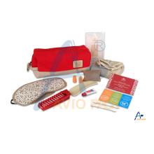 Airline/inflight amenity kit/overnight kit with eye mask & socks & dental kit etc.